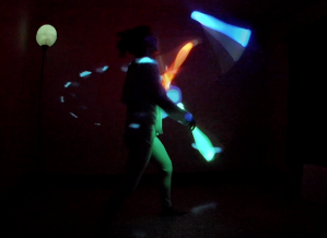 Using projections, glow juggling equipment, and interactivity the show was successful